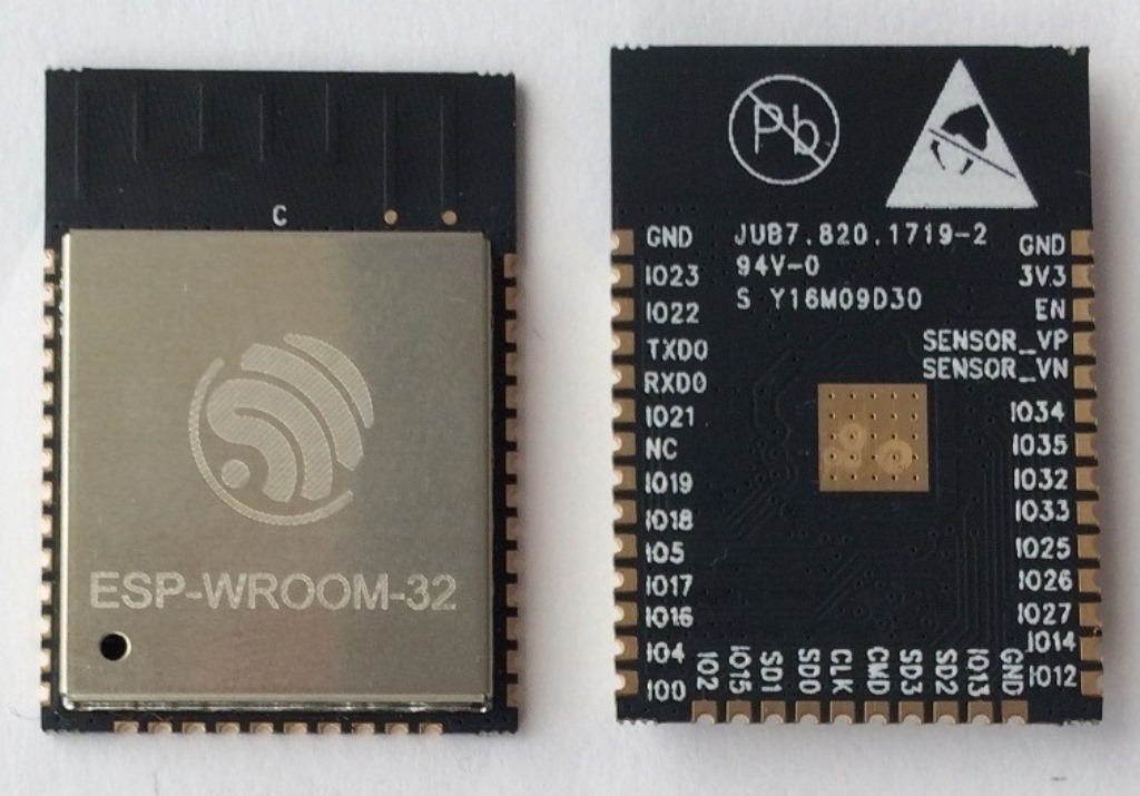 ESP-WROOM-32 module (front and back)