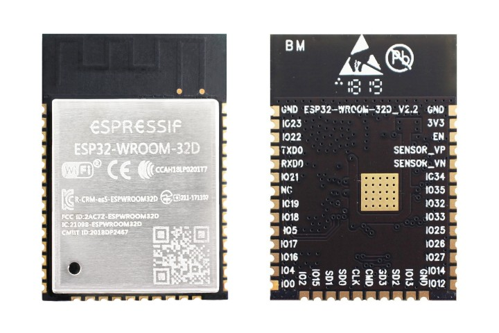 ESP32-WROOM-32D module (front and back)
