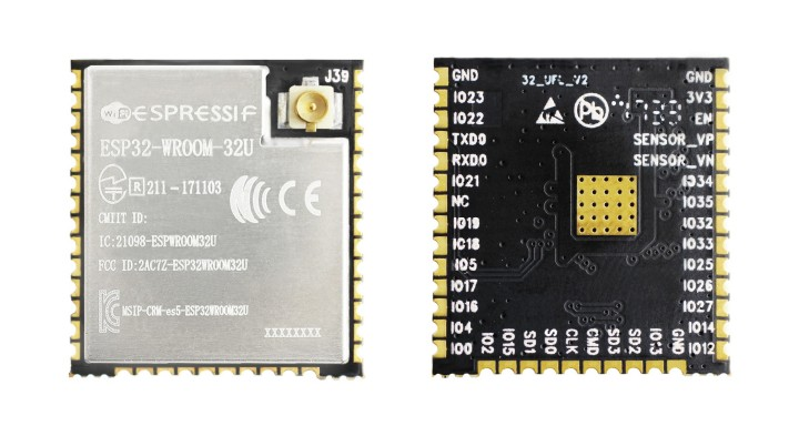 ESP32-WROOM-32U module (front and back)